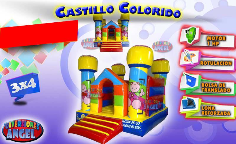 Venta de brincolines inflables castillo colorido for Precio de piletas inflables